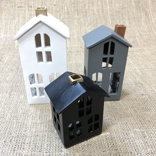 House with battery operated tealight candles