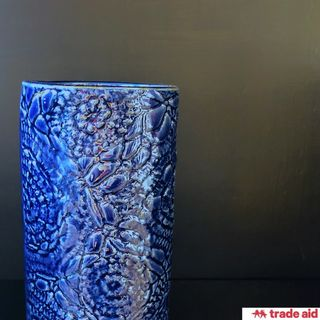 TRADE AID: Navy Blue Floral Vase