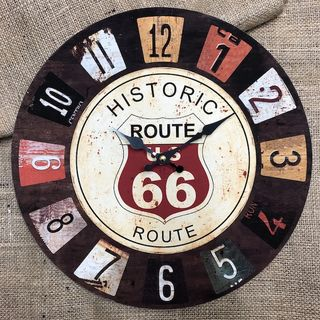 Historic Route 66 Clock 34cm
