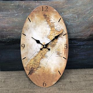 Oval Old NZ Map Clock  20 x 34cm