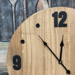 Wooden Clock with Black Numbers 50cm