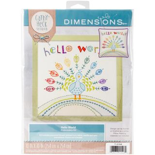 Cathy Heck Embroidery Kit, Hello World, 25cm