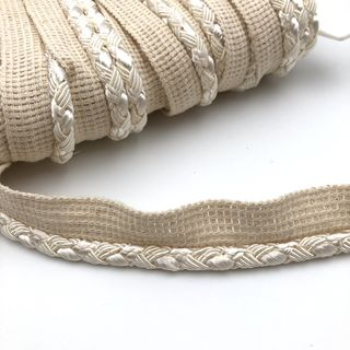 Flanged Cord 8mm Ivory Braided