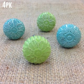 Knobs 4 x Green Textured