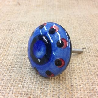 Knob Dark Blue with Spots