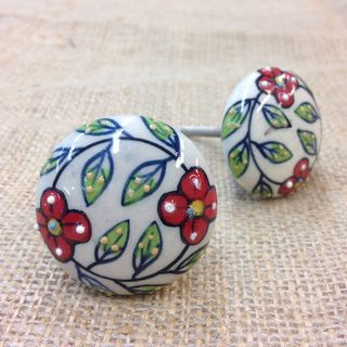 Knobs 2 x Red Floral