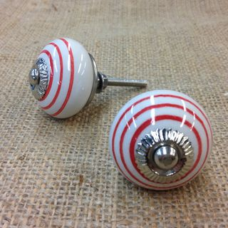 Knobs 2 x White with red circle