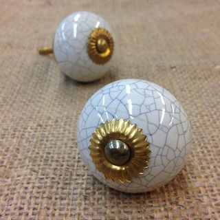 Knobs 2 x Crackle with Gold