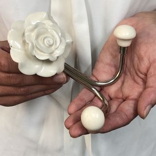 Hook, Ceramic Rose White