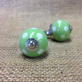 Knob Sm Polka Dot Green