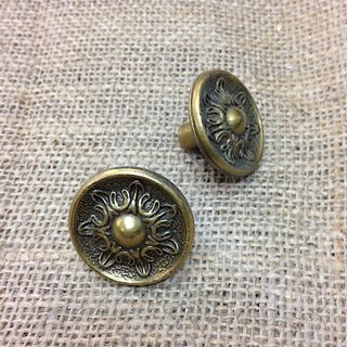 VINTAGE Metal round knobs x 2