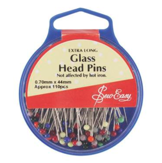 Extra long glass head pins