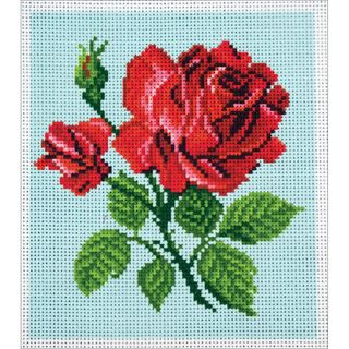 Stamped Cross Stitch Kit 20x22cm, Red Rose