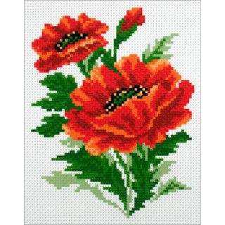 Stamped Cross Stitch 20x22cm, Poppies