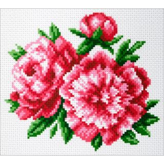 Stamped Cross Stitch 20x22cm, Peonies