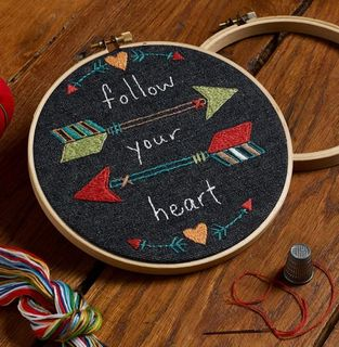 Embroidery Kit, Follow your heart 15cm