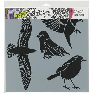 Stencil Bird Gathering 30 x 30cm