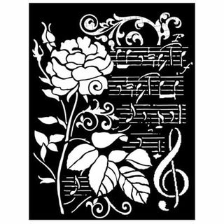 Stencil 20 x 25cm Rose and music