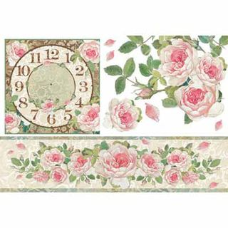 Rice Paper Clock with Roses 48 x 33cm