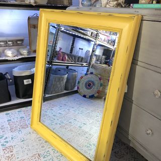Upcycled Large Mirror Deep Yellow