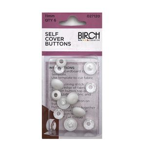 Self Cover Buttons, 11mm, 6pk