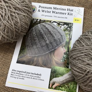 Possum Merino Hat & Wrist Warmer Kit
