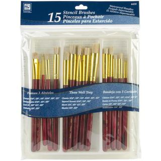 Paint Brush, stencil, assorted 15pk