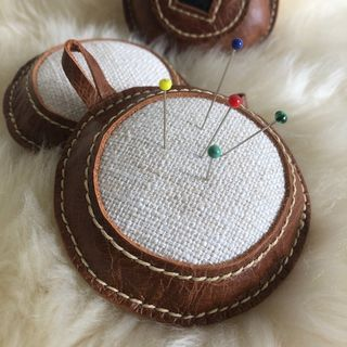 Leather Round Pin Cushion 11cmD