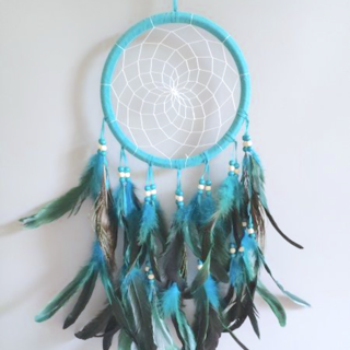 Dreamcatcher Wall Hanging, Teal/Peacock