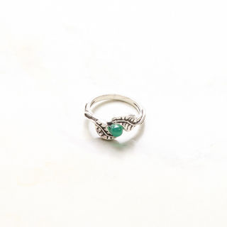 Leaf Ring with Green Bead