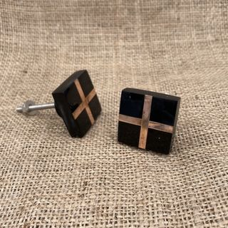 Knob Acrylic Black Cross