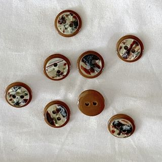 Button Brown 2-Hole 13mm