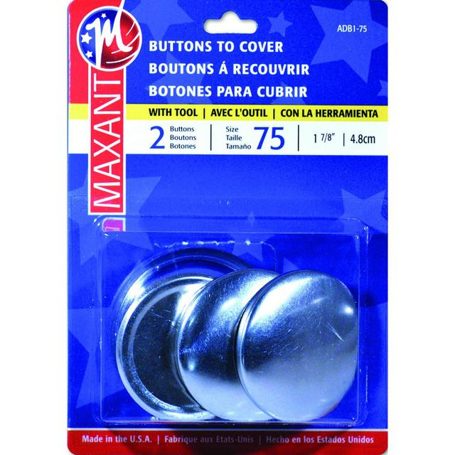 Self Cover Buttons, #75, 2pk