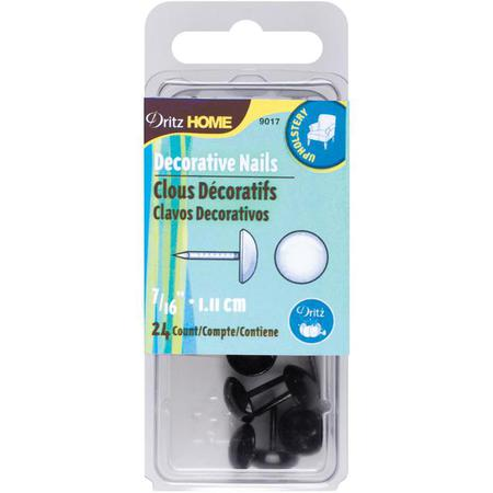 Decorative Nails, 1.11cm Smooth Black