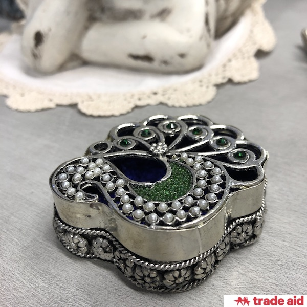 TRADE AID: Peacock Trinket Box