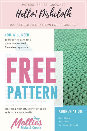 FREE Hello! Crochet Dishcloth Pattern