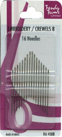 Needles, Embroidery / Crewels 8, 16pk