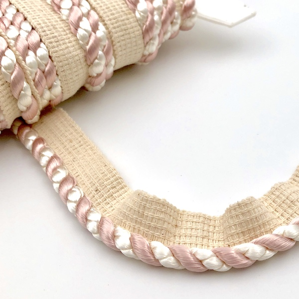 Flanged Cord 7mm Ivory and Blush