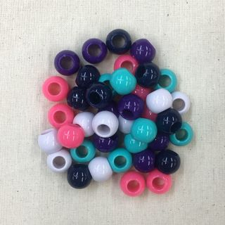 Craft Beads with Wide Hole, 40pc