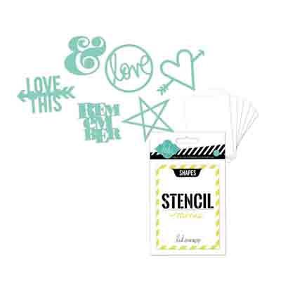 Stencil 6pk Words and Shapes