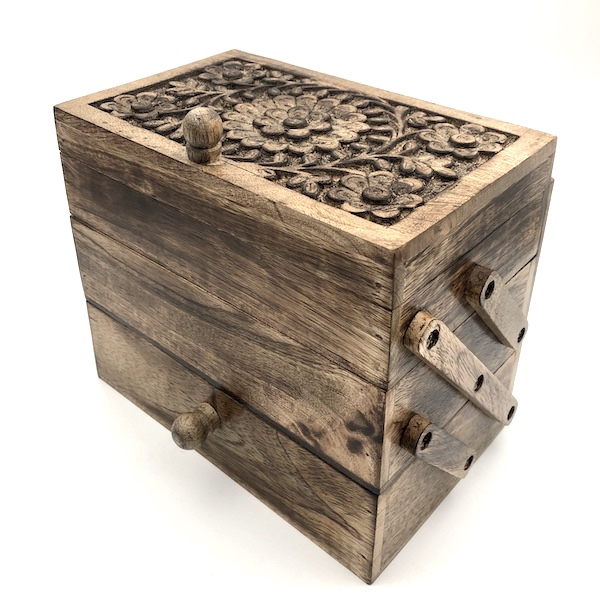Carved three tiered box