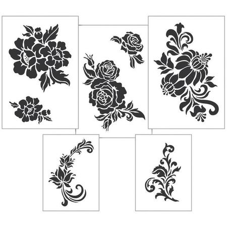Stencil 5PK Assorted Floral