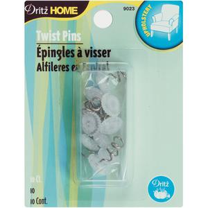 Twist Pins, clear, 10pc