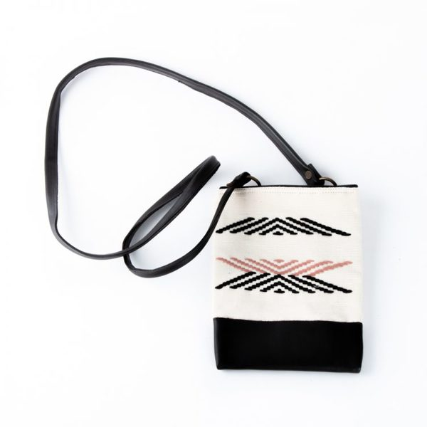 Fabric & Leather Sling Purse